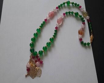 Winter Berries &Mistletoe mixed stone necklace