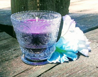 Lovespell scented soy candle in a repurposed clear votive!