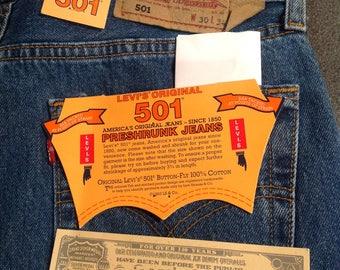 Brand New  Classic Vintage Levi's 501  0114 Blue Pre-shunk Denim Jeans GENUINE 30/34