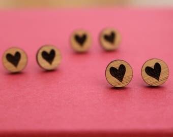 Wooden bamboo earrings with etched heart - heart studs, wooden jewelry, wooden jewellery, handmade earrings