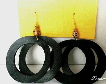 Earrings Black faux leather