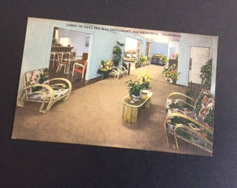 Vintage Linen Postcard, Pre 1960s, Lobby of Vista Del Mar Restaurant, San Francisco California, Scenic View Card Co, Souvenir, West Coast