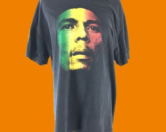 Vintage 90s Bob Marley Reggae Rasta Large Black T-Shirt Zion Rootswear USA Made