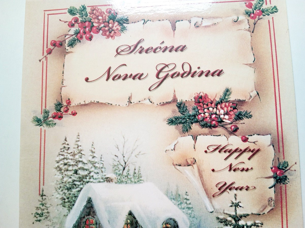 New years card in serbian english hungarian vintage winter new years card in serbian english hungarian vintage winter landscape seasons greetings card m4hsunfo