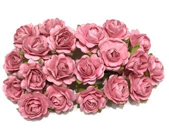 Salmon Pink Open Mulberry Paper Roses Or050