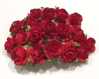 Deep Red Open Mulberry Paper Roses Or073
