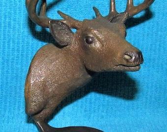 Vintage Tim Rush Limited Edition Signed & Numbered Bronze Deer Sculpture
