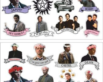 Set of vinyl stickers Supernatural,  Dean Sam Winchester, Crowley, Castiel  for Phone Tablet Laptop Decor