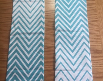 Teal and White Zigzag Fat Quarter