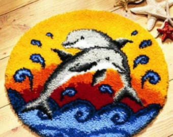 Lovely Dolphins Latch Hook Rug Kit DIY Mat Needlework Kit Unfinished Crocheting Rug Yarn MAT Embroidery Carpet Gift