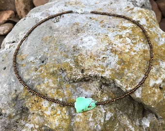 Green and Brown Stone Centered on a Bronze Seedbead Necklace