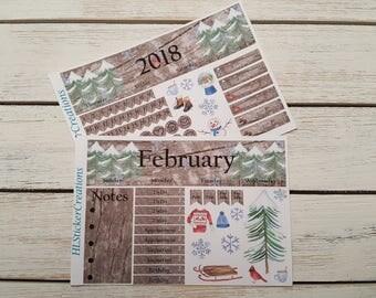 February Monthly Kit Erin Condren, Winter, Snow
