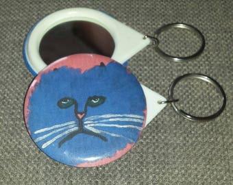 MR BLUE Melancholy Cat Original Handmade Pocket Mirror