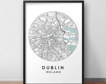 Dublin City Print, Street Map Art, Dublin Map Poster, Dublin Map Print, City Map Wall Art, Dublin Map, Travel Poster, Ireland