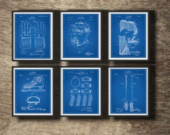 Blueprint art etsy hockey blueprint set of 6 patents hockey blueprint poster hockey blueprint art hockey malvernweather Gallery