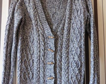Vintage Sweater/Cardigan With Long Sleeves/V Neck Sweater/Beautiful Knitt/Sweater With Buttons