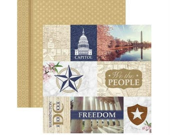 """Washington DC Set of 10 Custom Selected 12"""" x 12"""" Scrapbook Papers Themed Travel Vacation Papers - Our Favorites"""