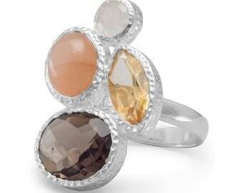 Moonstone, Citrine and Quartz Ring, Multistone Ring