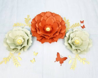Large flowers wall decor. Large paper flowers wall decor. Nursery large flowers wall. 3D flowers wall decor. Fall home decor. Giant flowers.