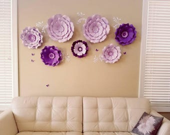 Large paper flowers cream nursery wall. Giant purple paper flowers nursery wall. 3D nursery paper flowers purple. Nursery wall flowers puple