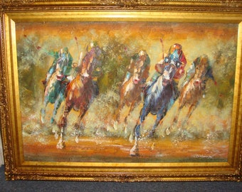 Race Horses Original Oil by M. Harold in frame 24x36