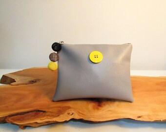 Gray clutch purse
