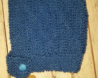 Cute Hand Knitted Pixie Bonnet 0-6 Blue