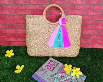 Ready to ship / Straw beach bag with the colorful tassels/straw bag /summer bag (Sara style)