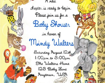 Little Golden Book Baby Shower Invitation Back Cover/ Book Themed Baby Shower Invitation
