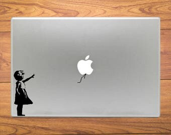 Banksy Girl Lost Balloon Art Macbook Decal Stickers Fits Mac Pro / Air / Retina Sizes 11 / 13 / 15 / 17 Laptop
