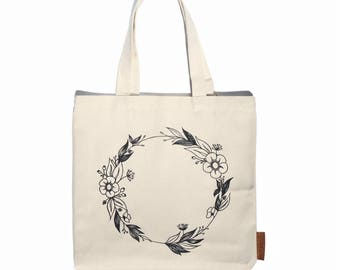 Flower Wreath 100% cotton, 12oz natural canvas tote bag. Ideal for a market bag, handbag, beach bag, shopping bag, grocery bag, library bag