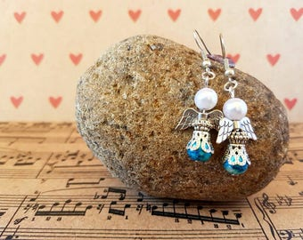 Angel earrings-blue and silver
