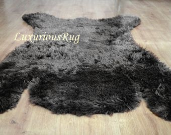 Bear Rug, Nursery Rug, Black Bear Rug, Woodland nursery, Bear room decor, Playroom Rug, Baby Room Rugs, Plush Faux Fur Area Rug, Bear Skin