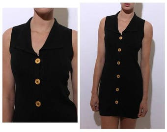 vintage 1980's 80's black knit mini dress vest sleeveless button down gold shirtdress layering S-M
