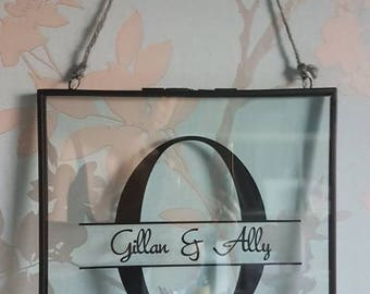 Personalised wedding/anniversary, hanging,glass, frame, couple gift, handmade, vinyl detailing, wall art