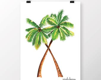Palm Trees - Drawing, Copic Markers, Beach, Tropical, Print