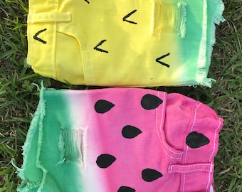Pineapple or Watermelon Distressed and Hand Dyed Denim Shorts