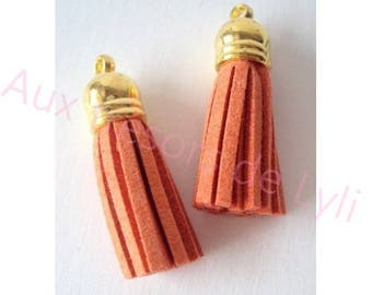 Tassels suede Orange - tassels with gold Bell - 3.7 cm