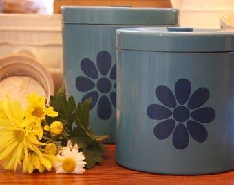 Blue Vintage  Kitchen Canisters  Set of 2