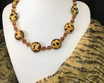 Leopard Necklace, Brown Spotted Necklace, Jungle Necklace, Tribal Necklace,