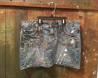 Paint splattered Denim mini skirt custom size 9 ready to ship!