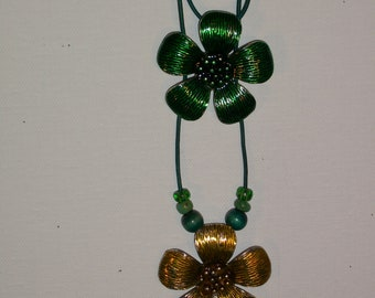 Flower Power Yellow Mustard & Green Enamel Metal Pendants On Turquoise Leather With Beads Necklace