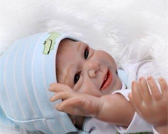 22INCH Handmade Lifelike Baby Boy Girl Silicone Vinyl Reborn Newborn Doll +Clothes