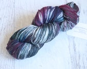 Speckled Fingering Weight Sock Yarn (75/25 Superwash Merino/ Nylon) Hand dyed with Mulberry Pink, Aegean Blue, Indigo, and white