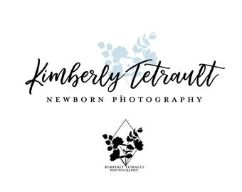 Premade Silhouette Floral Logo - Business Branding - Photography Boutique Submark Watermark Blue