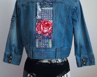Jacket customized denim, rose and Japanese fabrics, denim, jean jacket customized jacket