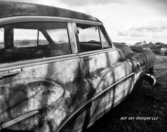 old black and white abandoned car photography print, mancave,fine art