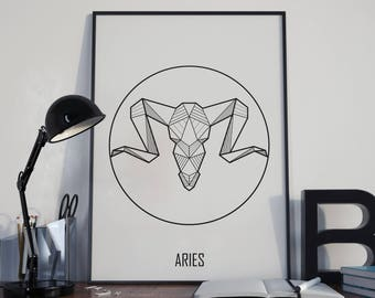 Aries Wall Art, Astrology Poster, Aries Birthday Gift, Printable Astrology, Zodiac Gift, Aries Wall Decor, Zodiac Wall Art, Custom Colors