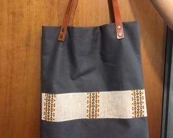 handmade canvas tote bag with linen details