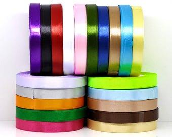Orange satin ribbon measuring 12 mm wide